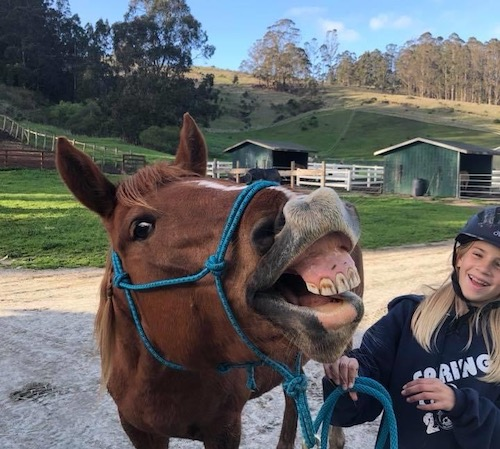 Girl with Horse showing teeth